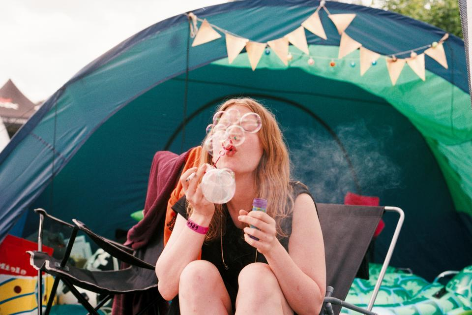 people woman bubbles camping outdoor bond trees woods forest