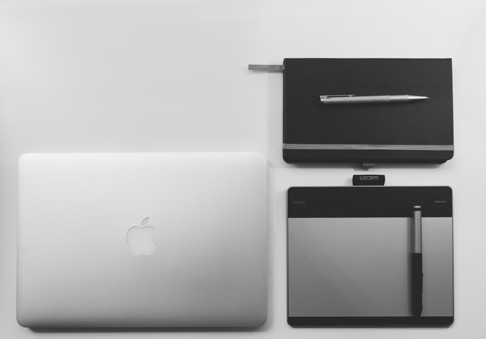 macbook laptop computer tablet technology notepad notebook pen business