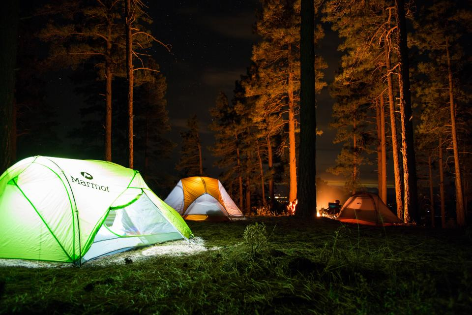 camp outdoor travel adventure tent woods forest bonfire vacation trip people grass green