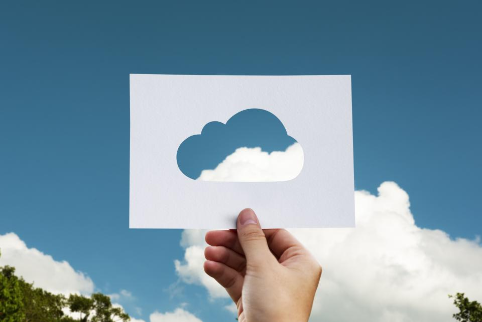 blue sky clouds outdoor nature view hand paper cloud computing art