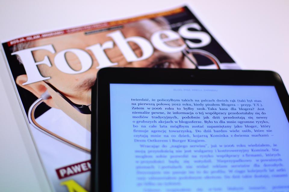 Forbes magazine reading business kindle ereader technology