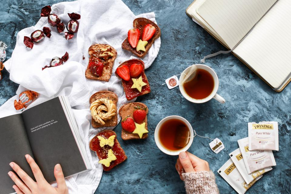 people hand tea book read notebook diary novel sweets candy bread spread strawberry fruit crops fresh