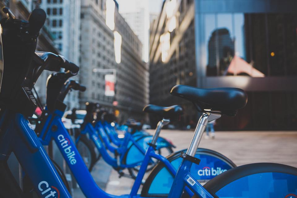 bicycle bike park city urban street building citi bike blue new york