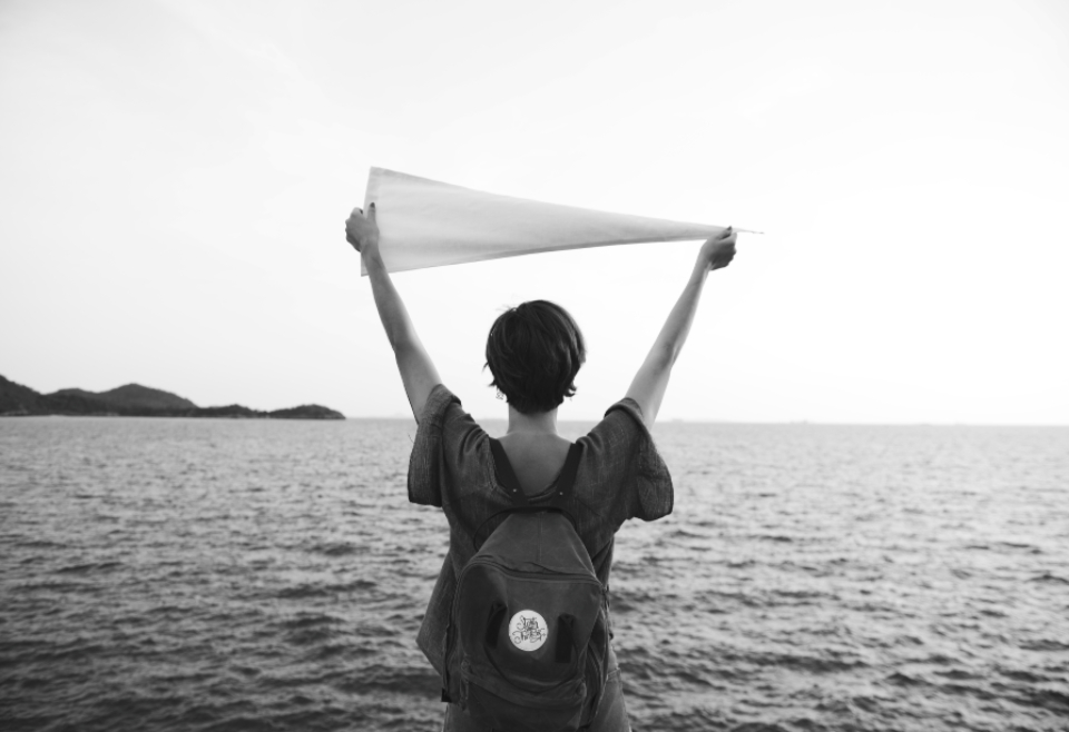 calm freedom location travel exploration life woman serenity wellness casual backpack trip place expedition traveler journey sea tourism leisure chill relaxation destination holiday resting flag vacation route peace