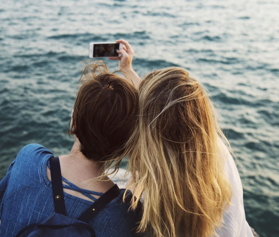 people girl women friends mobile phone selfie camera nature travel outdoor photography hairstyle seashore ocean sea water