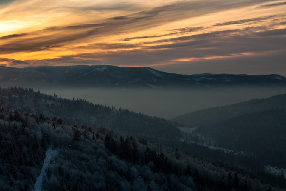 nature landscape mountain sunset clouds sky aerial woods forest sunset