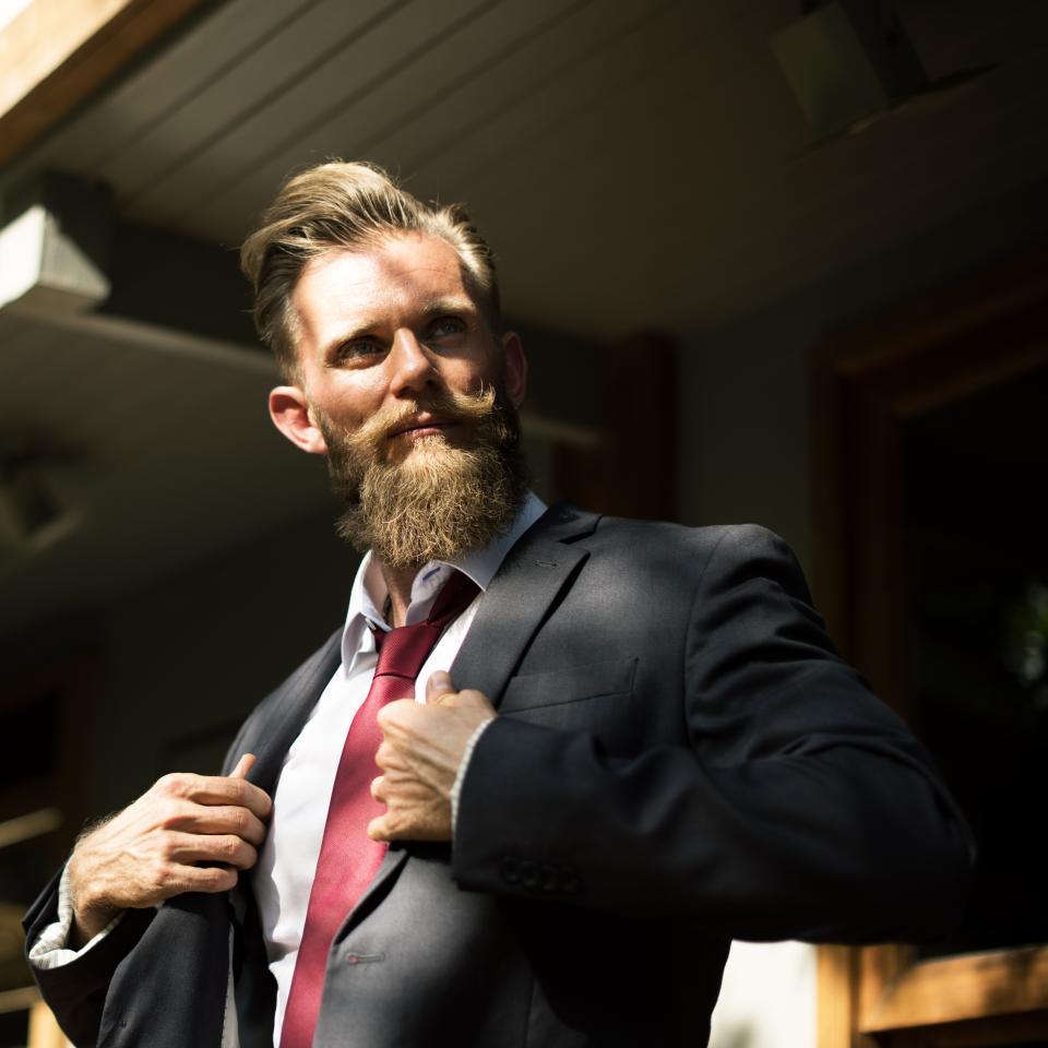 guy man people beard moustache suite tie business