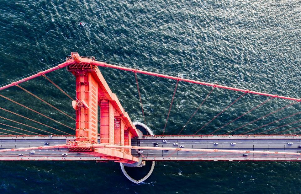 sea water ocean bridge car vehicle travel transportation steel metal