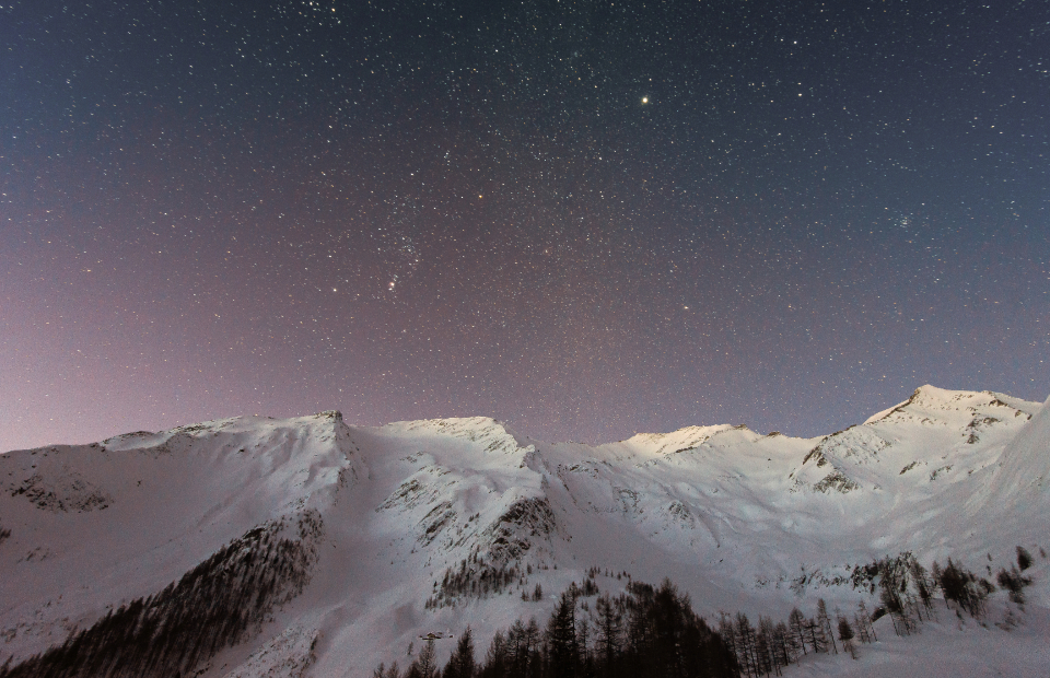 sky stars night mountains winter snow nature cold dark evening galaxy astronomy space peaks hd wallpaper desktop wallpaper