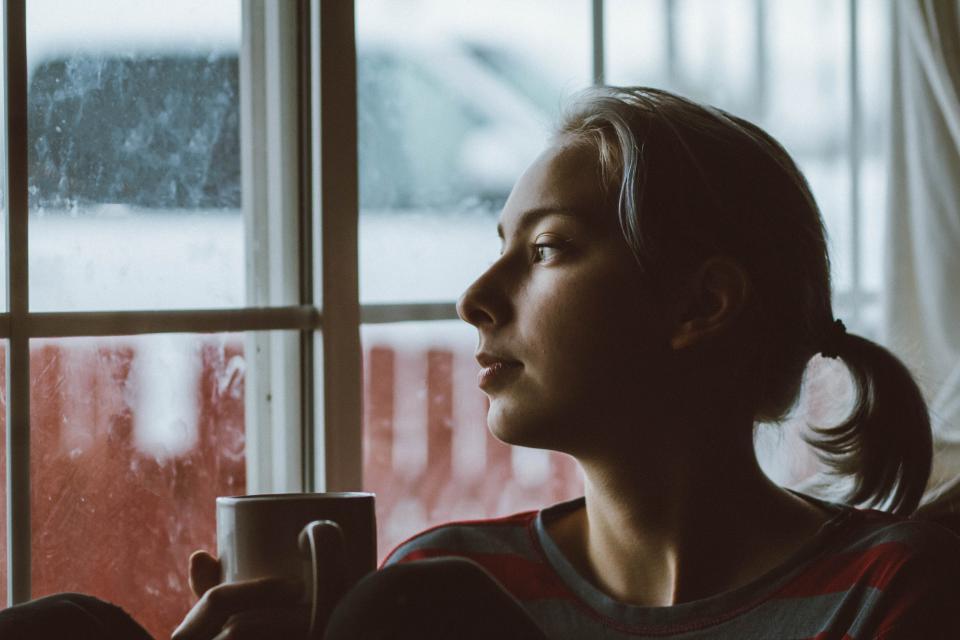 people girl woman coffee drink inside house window
